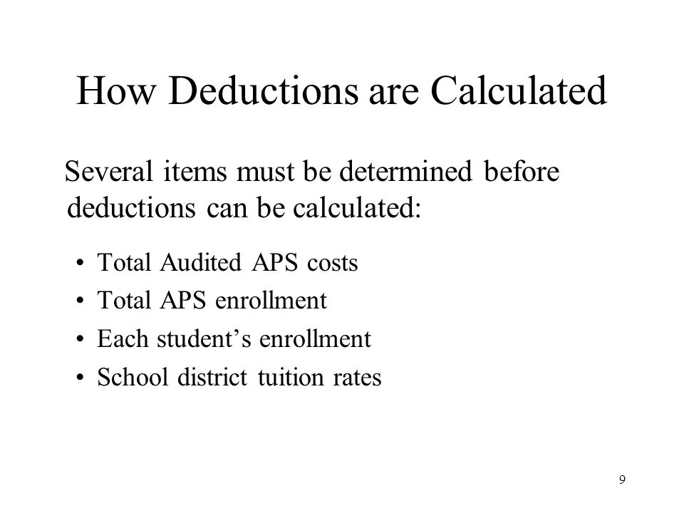 10 How Deductions are Calculated (cont.) Each student's deduction is then calculated using the formula below: (Total APS Costs / Total APS Enrollment) * Student's Enrollment * 40% = Student's Deduction ‡ ‡ (or SD Tuition Rate, if higher)