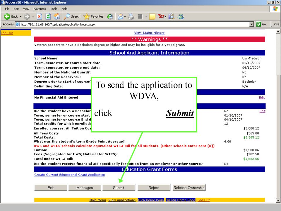To send the application to WDVA, click Submit