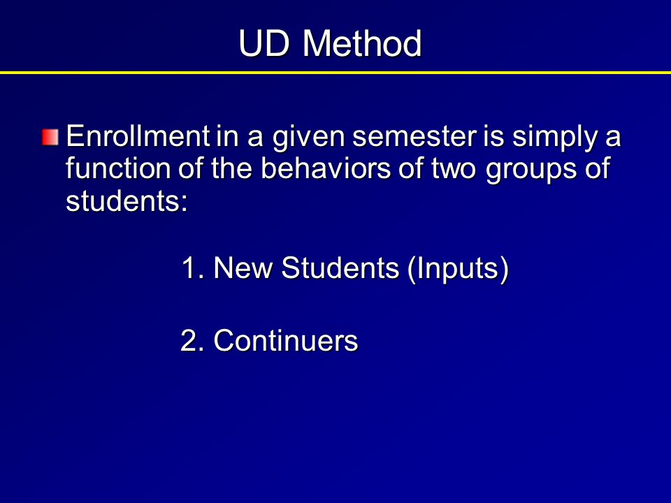 New Students Freshmen Transfers Readmitted ContinuingStudents Total number enrolled from prior semester minus (number of graduates + number of withdrawals) + UD Method