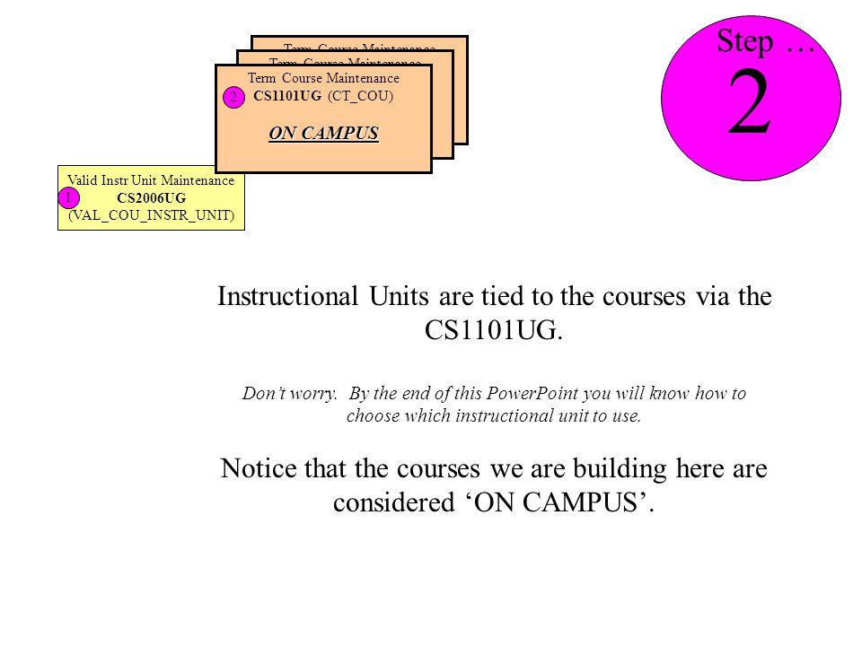 Valid Instr Unit Maintenance CS2006UG (VAL_COU_INSTR_UNIT) 1 Term Course Maintenance CS1101UG (CT_COU) Term Course Maintenance CS1101UG (CT_COU) Term Course Maintenance CS1101UG (CT_COU) ON CAMPUS 2 Instructional Units are tied to the courses via the CS1101UG.