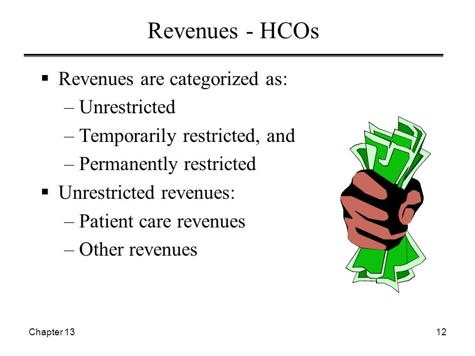 Chapter 1312 Revenues - HCOs  Revenues are categorized as: –Unrestricted –Temporarily restricted, and –Permanently restricted  Unrestricted revenues