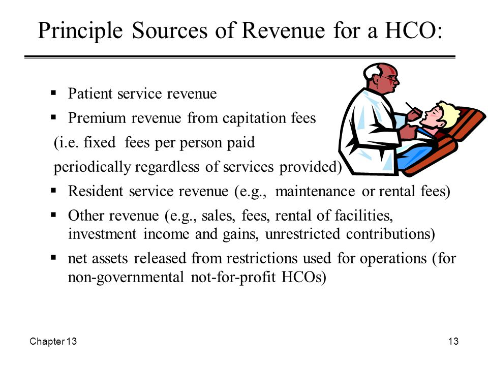 Chapter 1313 Principle Sources of Revenue for a HCO:  Patient service revenue  Premium revenue from capitation fees (i.e. fixed fees per person paid