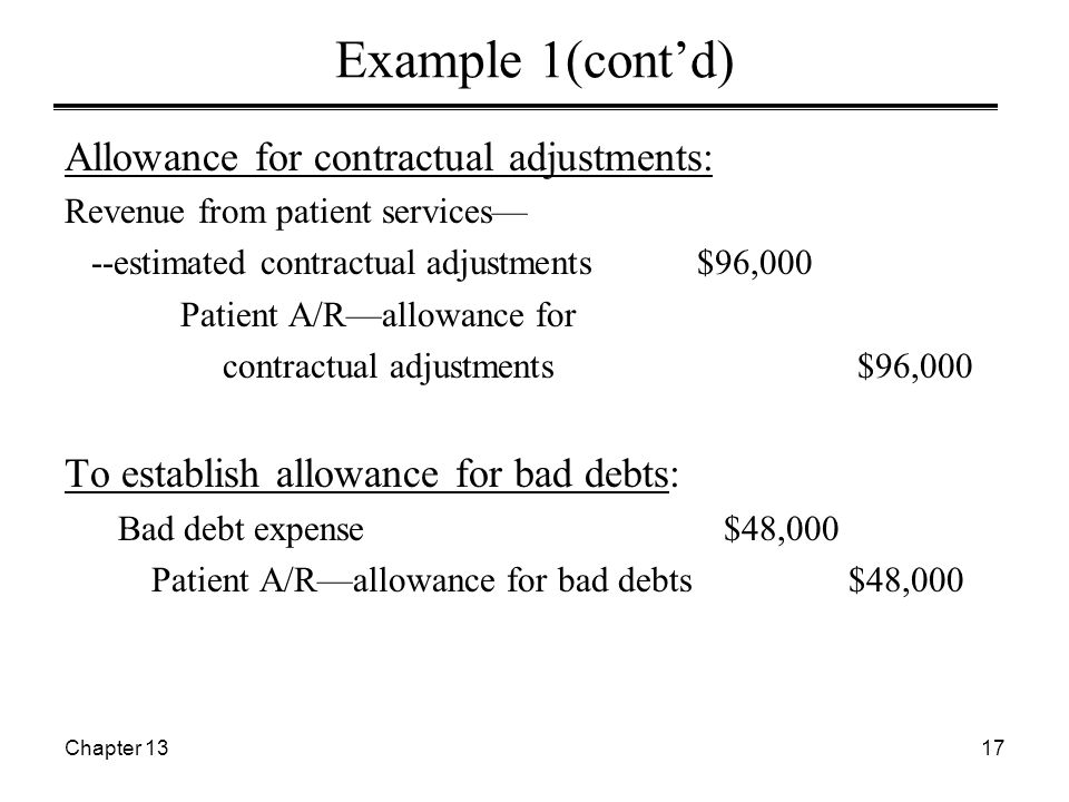 Chapter 1317 Example 1(cont'd) Allowance for contractual adjustments: Revenue from patient services— --estimated contractual adjustments $96,000 Patient A/R—allowance for contractual adjustments $96,000 To establish allowance for bad debts: Bad debt expense $48,000 Patient A/R—allowance for bad debts $48,000
