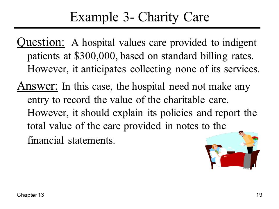 Chapter 1319 Example 3- Charity Care Question: A hospital values care provided to indigent patients at $300,000, based on standard billing rates. Howe