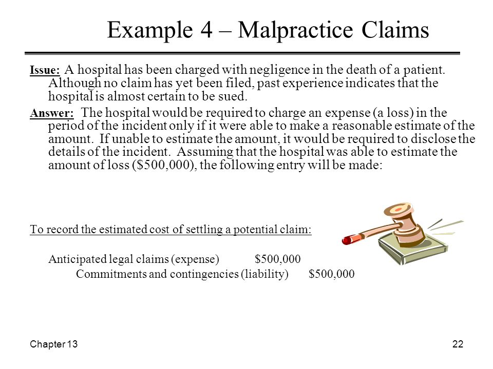 Chapter 1322 Example 4 – Malpractice Claims Issue: A hospital has been charged with negligence in the death of a patient.