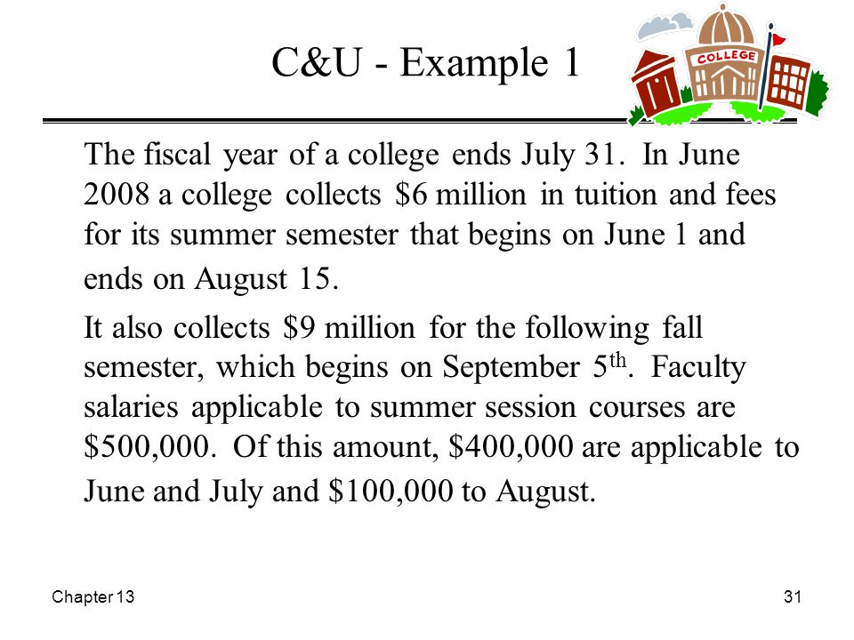 Chapter 1331 C&U - Example 1 The fiscal year of a college ends July 31.