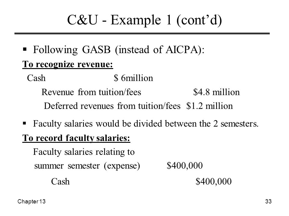 Chapter 1333 C&U - Example 1 (cont'd)  Following GASB (instead of AICPA): To recognize revenue: Cash $ 6million Revenue from tuition/fees $4.8 million Deferred revenues from tuition/fees $1.2 million  Faculty salaries would be divided between the 2 semesters.