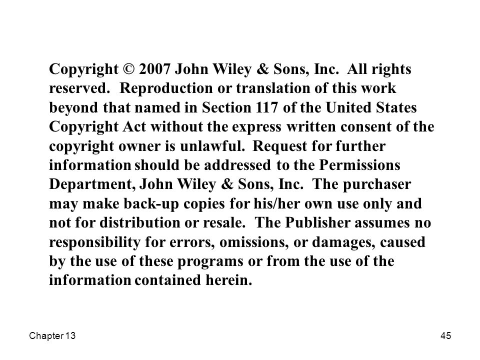 Chapter 1345 Copyright © 2007 John Wiley & Sons, Inc.