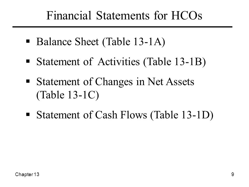Chapter 1310 Statements of Cash Flows