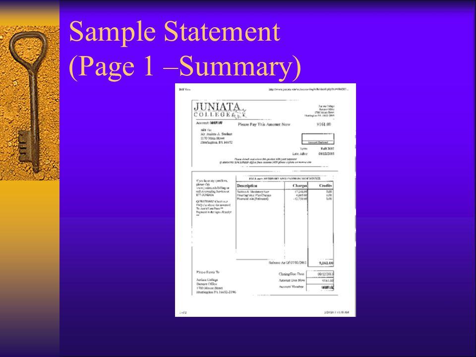 Sample Statement (Page 1 –Summary)