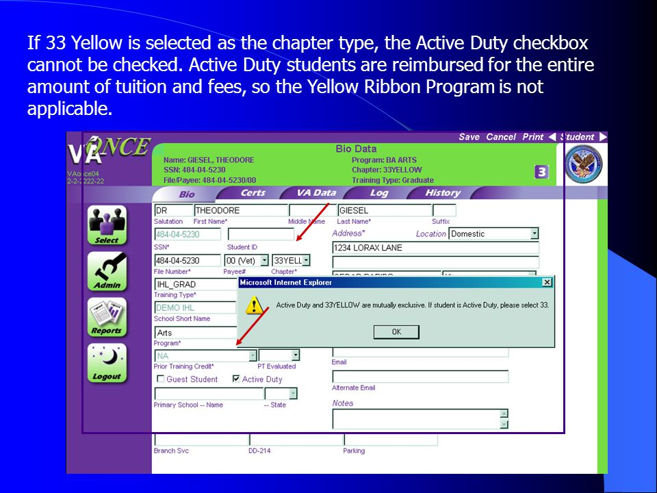 36 If 33 Yellow is selected as the chapter type, the Active Duty checkbox cannot be checked.