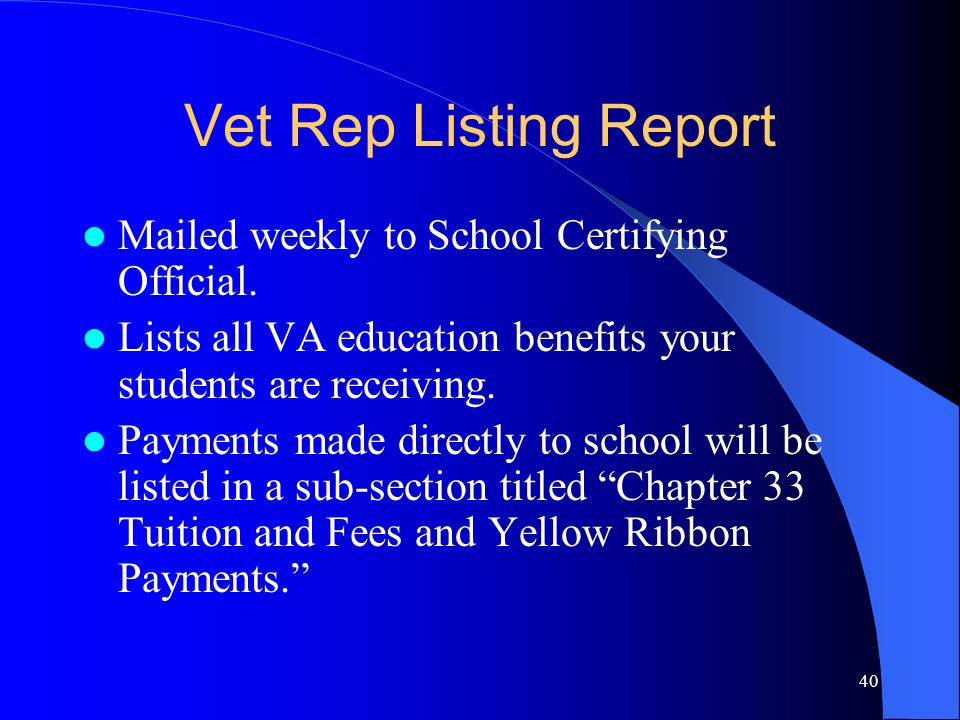 40 Vet Rep Listing Report Mailed weekly to School Certifying Official.