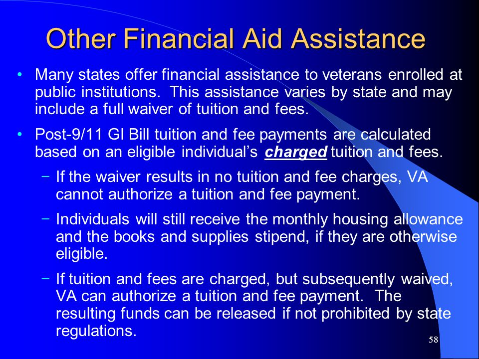 58 Other Financial Aid Assistance Many states offer financial assistance to veterans enrolled at public institutions.