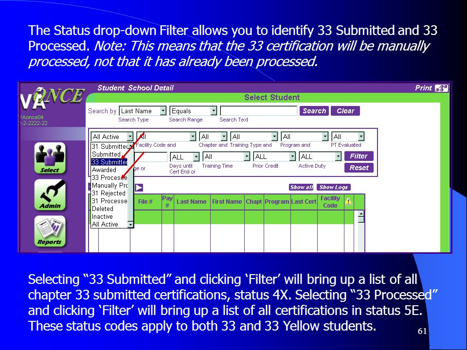 61 The Status drop-down Filter allows you to identify 33 Submitted and 33 Processed.