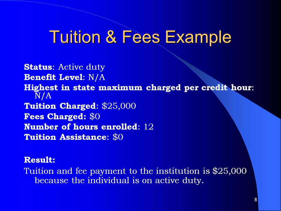8 Tuition & Fees Example Status : Active duty Benefit Level : N/A Highest in state maximum charged per credit hour : N/A Tuition Charged : $25,000 Fees Charged: $0 Number of hours enrolled : 12 Tuition Assistance : $0 Result: Tuition and fee payment to the institution is $25,000 because the individual is on active duty.