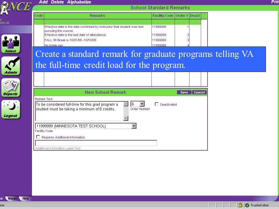 81 Create a standard remark for graduate programs telling VA the full-time credit load for the program.