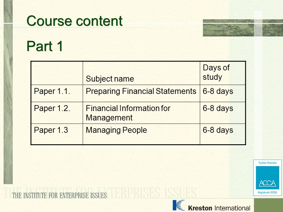Subject name Days of study Paper 1.1.Preparing Financial Statements6-8 days Paper 1.2.Financial Information for Management 6-8 days Paper 1.3Managing