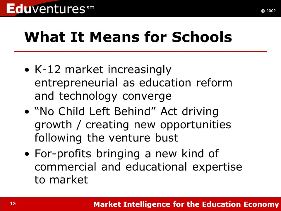 © 2002 Market Intelligence for the Education Economy 15 What It Means for Schools K-12 market increasingly entrepreneurial as education reform and technology converge No Child Left Behind Act driving growth / creating new opportunities following the venture bust For-profits bringing a new kind of commercial and educational expertise to market