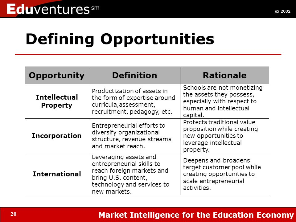 © 2002 Market Intelligence for the Education Economy 20 Defining Opportunities OpportunityDefinitionRationale Intellectual Property Incorporation International Productization of assets in the form of expertise around curricula,assessment, recruitment, pedagogy, etc.