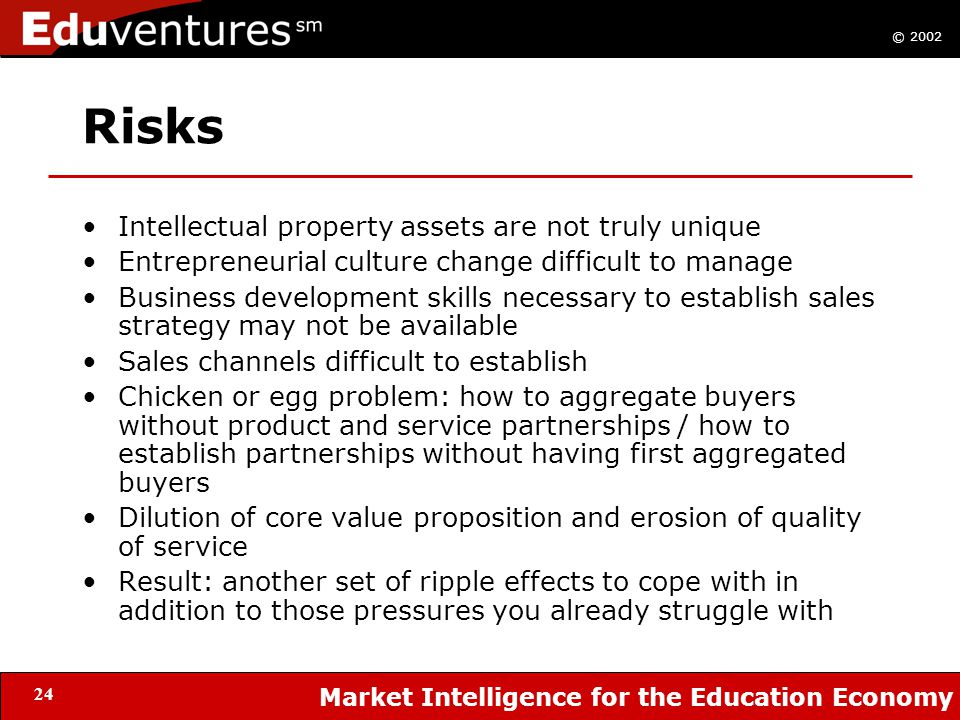 © 2002 Market Intelligence for the Education Economy 24 Risks Intellectual property assets are not truly unique Entrepreneurial culture change difficult to manage Business development skills necessary to establish sales strategy may not be available Sales channels difficult to establish Chicken or egg problem: how to aggregate buyers without product and service partnerships / how to establish partnerships without having first aggregated buyers Dilution of core value proposition and erosion of quality of service Result: another set of ripple effects to cope with in addition to those pressures you already struggle with