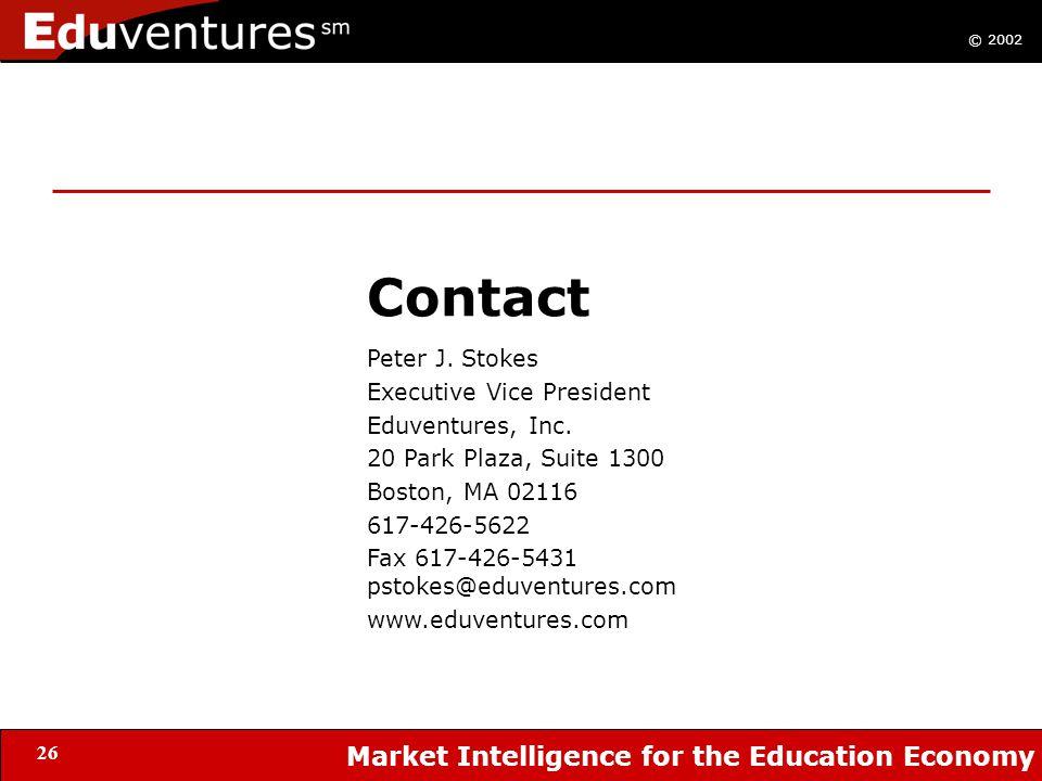 © 2002 Market Intelligence for the Education Economy 26 Contact Peter J. Stokes Executive Vice President Eduventures, Inc. 20 Park Plaza, Suite 1300 B