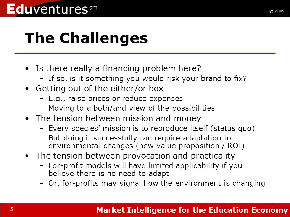 © 2002 Market Intelligence for the Education Economy 5 The Challenges Is there really a financing problem here.