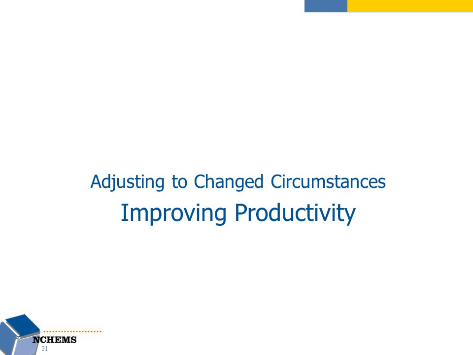 Adjusting to Changed Circumstances Improving Productivity 31