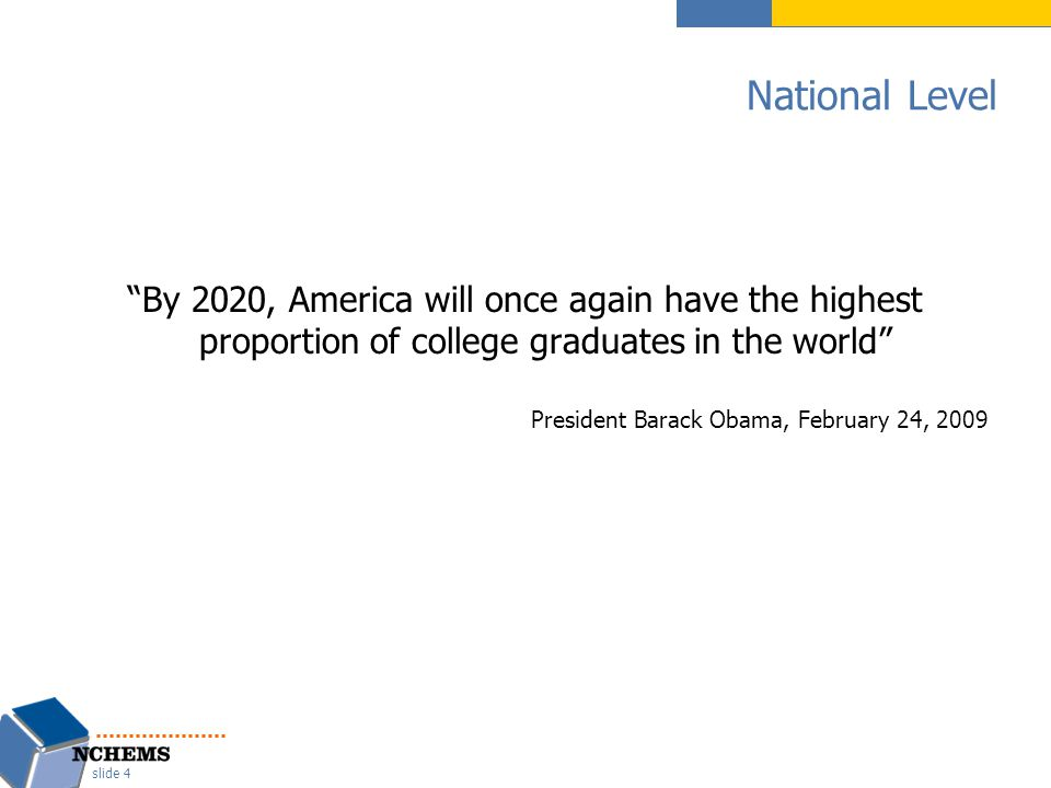 National Level By 2020, America will once again have the highest proportion of college graduates in the world President Barack Obama, February 24, 2009 slide 4
