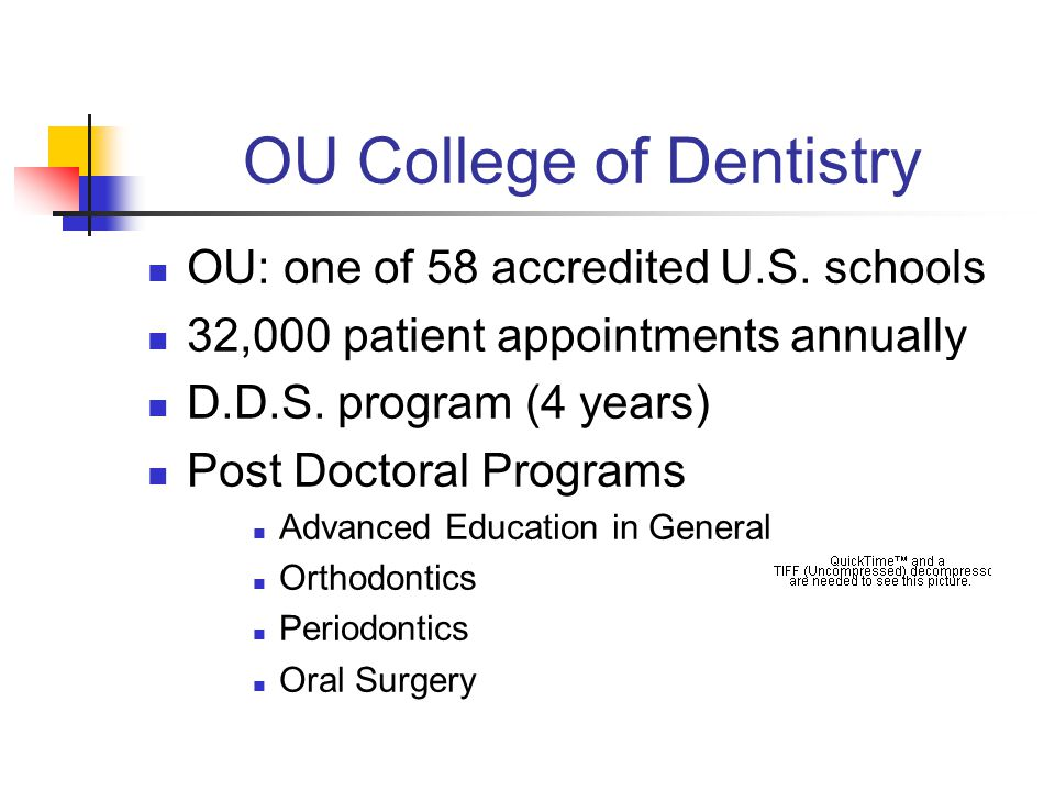 OU College of Dentistry OU: one of 58 accredited U.S.