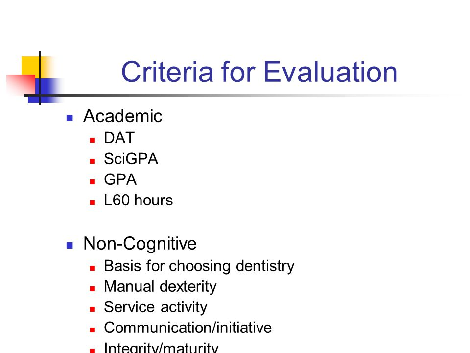 Criteria for Evaluation Academic DAT SciGPA GPA L60 hours Non-Cognitive Basis for choosing dentistry Manual dexterity Service activity Communication/initiative Integrity/maturity