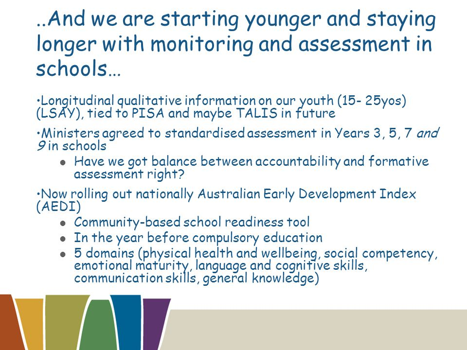 ..And we are starting younger and staying longer with monitoring and assessment in schools… Longitudinal qualitative information on our youth (15- 25yos) (LSAY), tied to PISA and maybe TALIS in future Ministers agreed to standardised assessment in Years 3, 5, 7 and 9 in schools Have we got balance between accountability and formative assessment right.