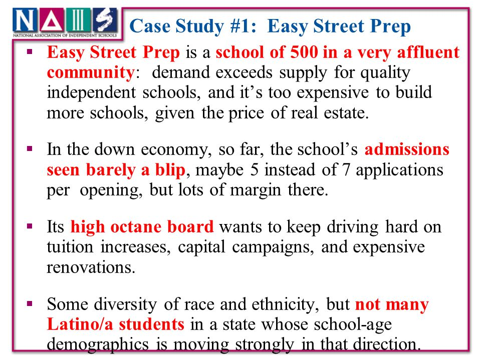 Case Study #1: Easy Street Prep  Strong support for financial aid, but not many middle class kids in the school (or even the psychological middle class. )  A growing number of X-Gen board members recently have been asking for outcomes analysis of how students and the school performs.