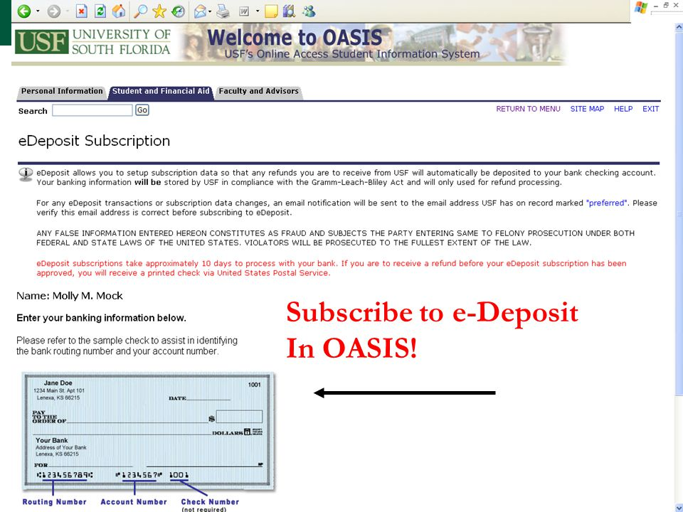Subscribe to e-Deposit In OASIS!