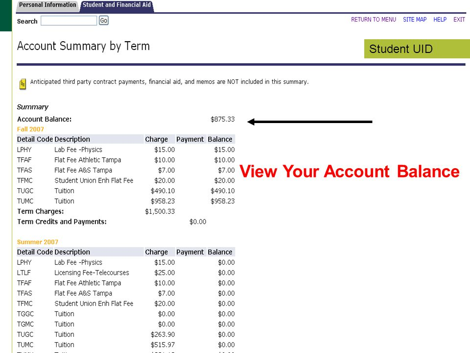 Student UID View Your Account Balance