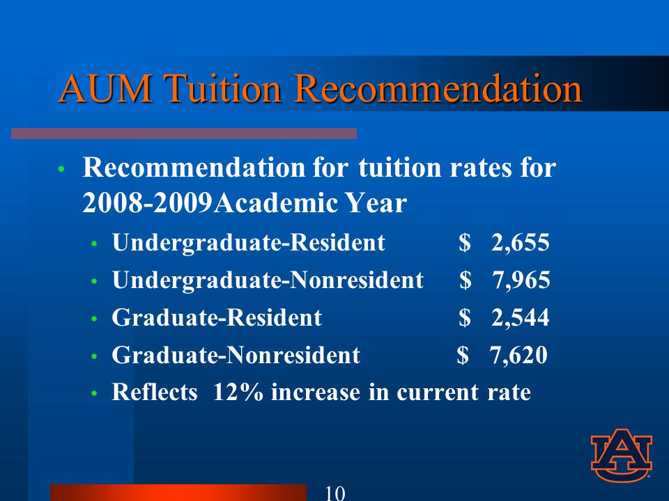 AUM Tuition Recommendation Recommendation for tuition rates for 2008-2009Academic Year Undergraduate-Resident$ 2,655 Undergraduate-Nonresident $ 7,965