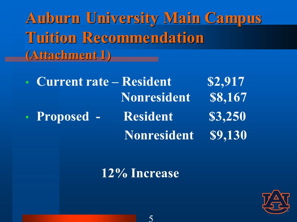 Auburn University Main Campus Tuition Recommendation (Attachment 1) Current rate – Resident $2,917 Nonresident $8,167 Proposed - Resident $3,250 Nonresident $9,130 12% Increase 5