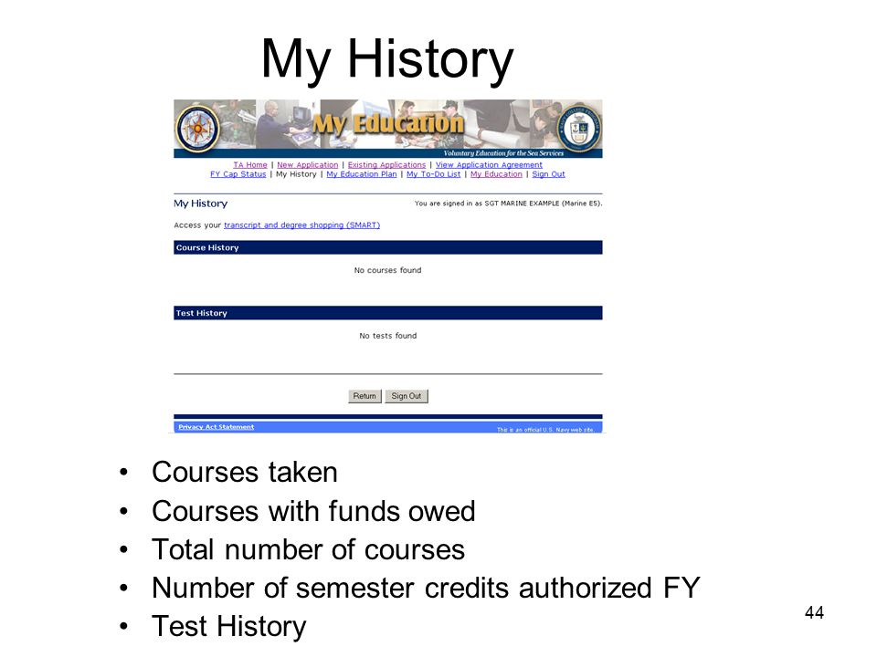 44 My History Courses taken Courses with funds owed Total number of courses Number of semester credits authorized FY Test History