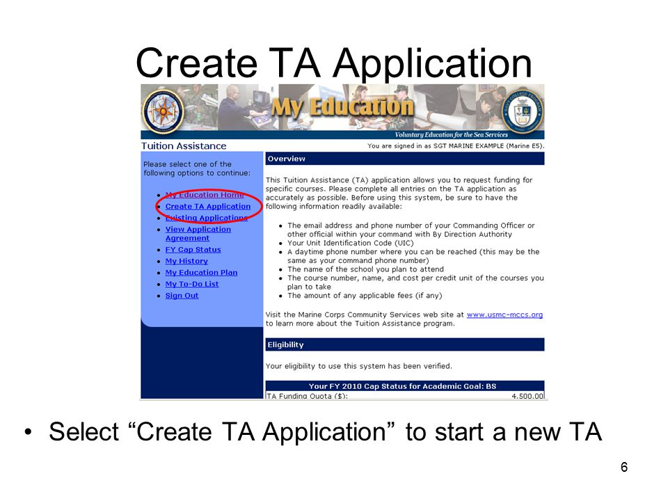 6 Create TA Application Select Create TA Application to start a new TA