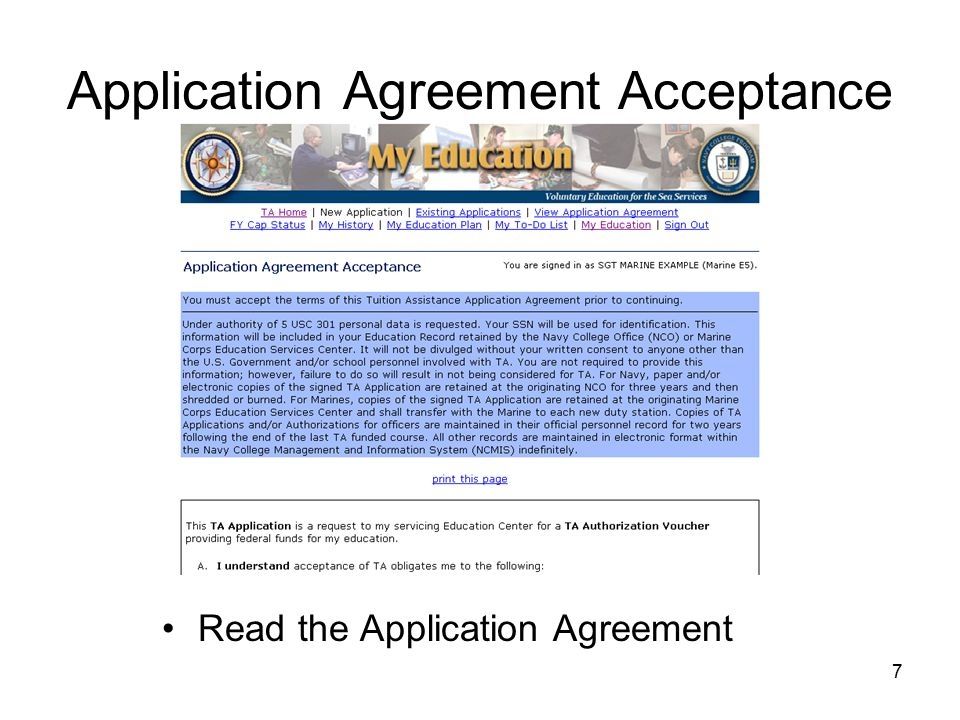 Return to https://myeducation.netc.navy.mil/https://myeducation.netc.navy.mil/ Click on Existing Applications Click View for Existing Applications in Authorized Status After approval of TA Click Print Document.