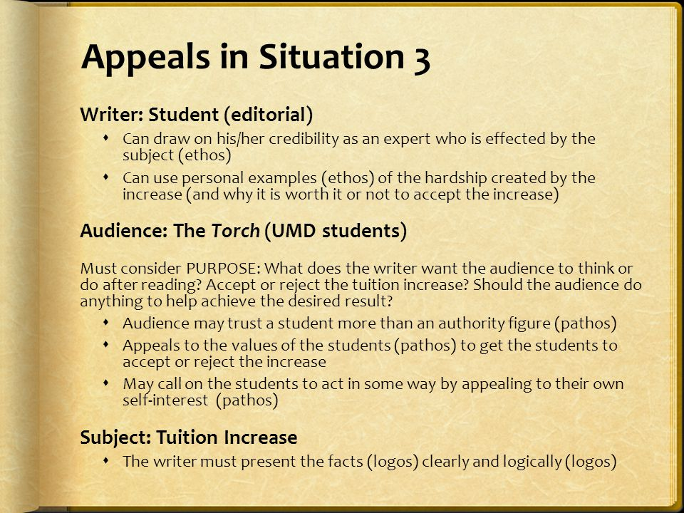 Appeals in Situation 3 Writer: Student (editorial)  Can draw on his/her credibility as an expert who is effected by the subject (ethos)  Can use per