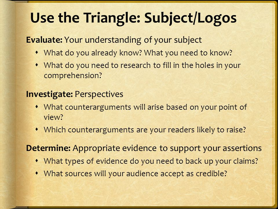 Use the Triangle: Subject/Logos Evaluate: Your understanding of your subject  What do you already know? What you need to know?  What do you need to