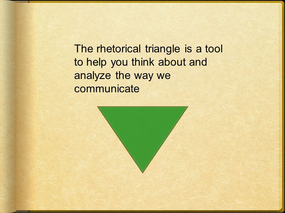 The rhetorical triangle is a tool to help you think about and analyze the way we communicate
