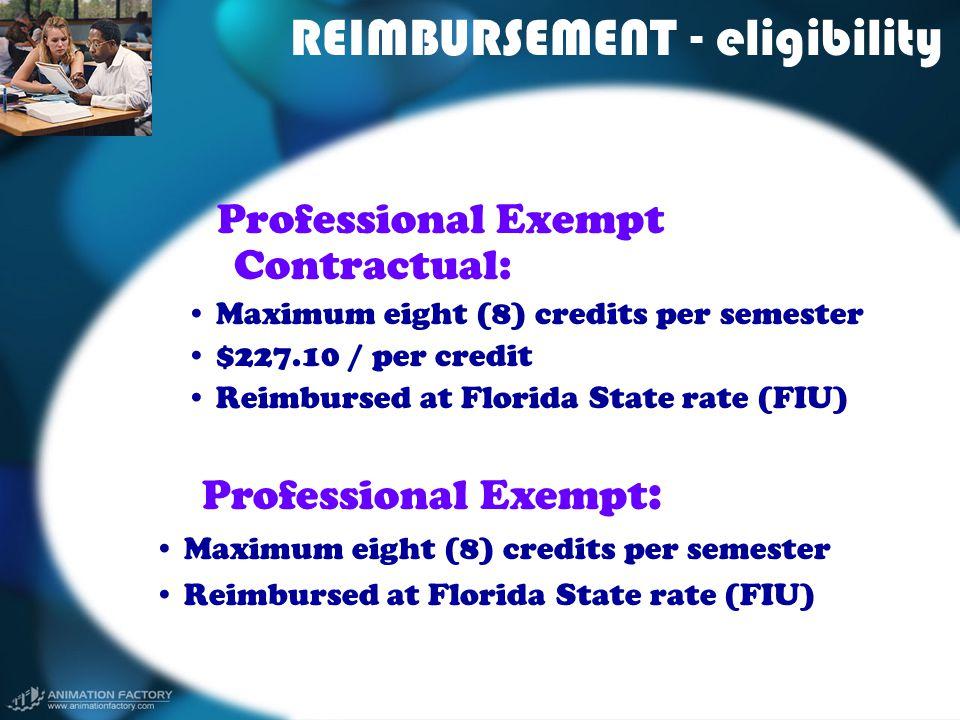 REIMBURSEMENT - eligibility Professional Exempt Contractual: Maximum eight (8) credits per semester $227.10 / per credit Reimbursed at Florida State r