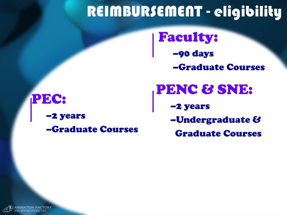 REIMBURSEMENT - eligibility Faculty: –90 days –Graduate Courses PENC & SNE: –2 years –Undergraduate & Graduate Courses PEC: –2 years –Graduate Courses