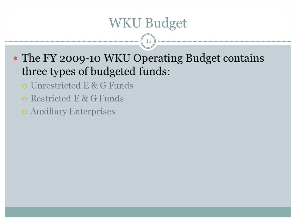 WKU Budget 11 The FY WKU Operating Budget contains three types of budgeted funds:  Unrestricted E & G Funds  Restricted E & G Funds  Auxiliary Enterprises
