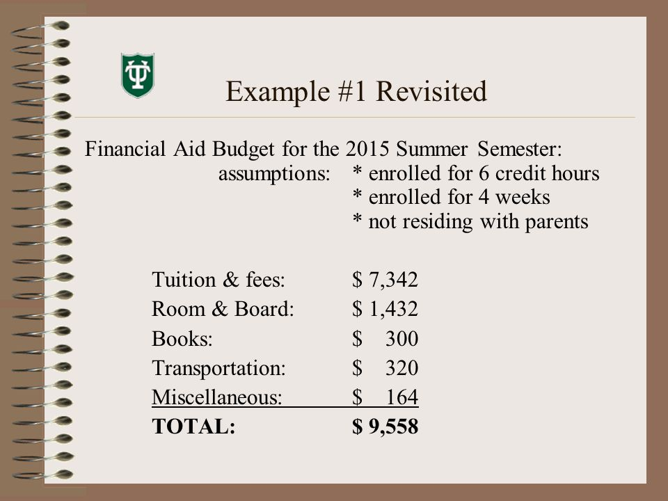Example #1 Revisited Financial Aid Budget for the 2015 Summer Semester: assumptions: * enrolled for 6 credit hours * enrolled for 4 weeks * not residing with parents Tuition & fees:$ 7,342 Room & Board:$ 1,432 Books:$ 300 Transportation:$ 320 Miscellaneous:$ 164 TOTAL:$ 9,558