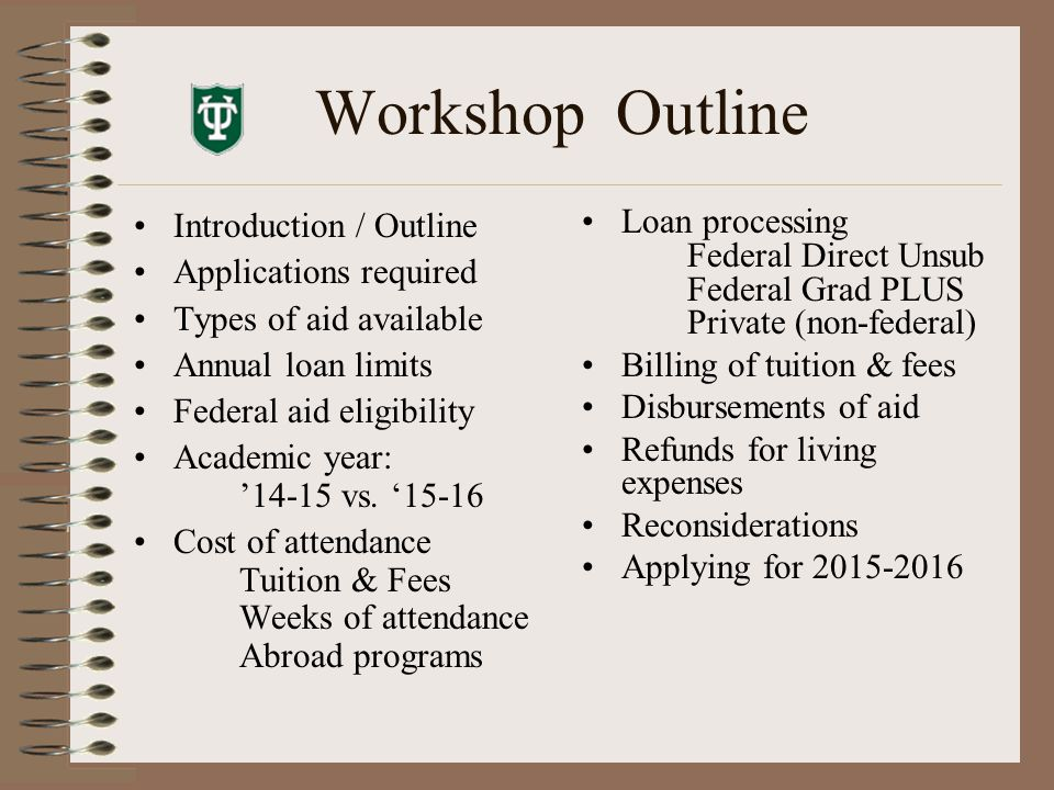 Workshop Outline Introduction / Outline Applications required Types of aid available Annual loan limits Federal aid eligibility Academic year: '14-15 vs.