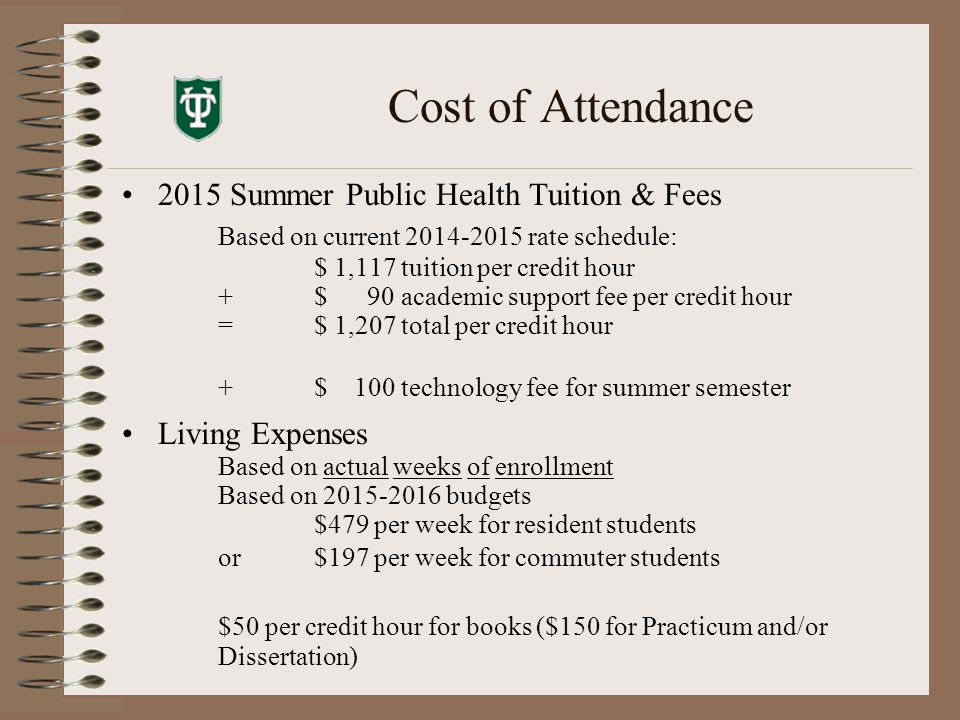 Cost of Attendance 2015 Summer Public Health Tuition & Fees Based on current 2014-2015 rate schedule: $ 1,117 tuition per credit hour + $ 90 academic support fee per credit hour = $ 1,207 total per credit hour +$ 100 technology fee for summer semester Living Expenses Based on actual weeks of enrollment Based on 2015-2016 budgets $479 per week for resident students or$197 per week for commuter students $50 per credit hour for books ($150 for Practicum and/or Dissertation)