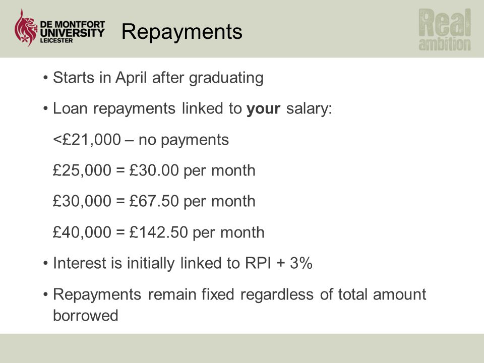 Repayments Starts in April after graduating Loan repayments linked to your salary: <£21,000 – no payments £25,000 = £30.00 per month £30,000 = £67.50 per month £40,000 = £142.50 per month Interest is initially linked to RPI + 3% Repayments remain fixed regardless of total amount borrowed
