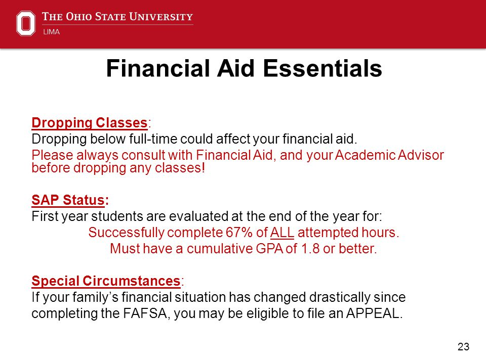 23 Financial Aid Essentials Dropping Classes: Dropping below full-time could affect your financial aid.